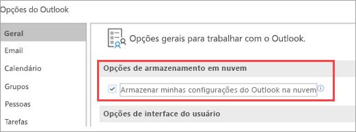Exibição da opções de configuração do Outlook