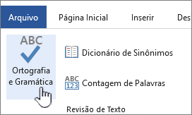 Botão Ortografia e Gramática na faixa de opções Revisão