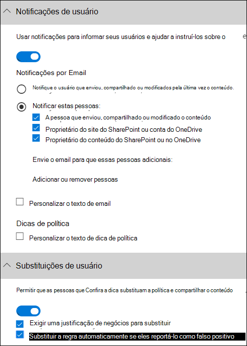 Seção de notificações de usuário e a seção de substituições de usuário