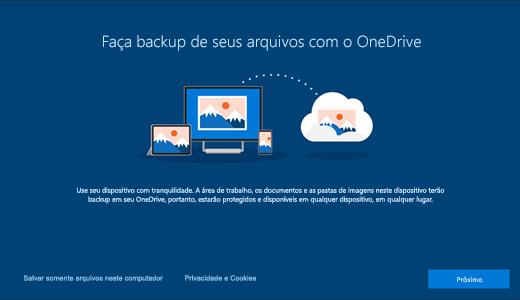 Captura de tela da página do OneDrive exibida na primeira vez que você usa o Windows 10
