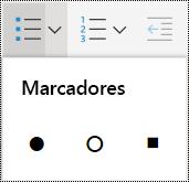 Menu de lista com marcadores no OneNote Online.