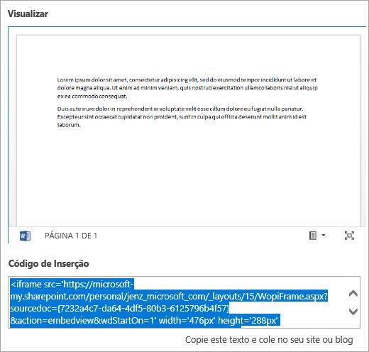 Copie o código de inserção de um documento do Office