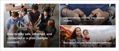 """A Web Part Hero na home page do modelo de site de gerenciamento de crise. Isso apresenta três imagens grandes com títulos de texto """"Como manter-se seguro, informado e conectado em uma crise"""", """"Obter as informações mais atualizadas"""" e """"Encontrar suporte para você e sua família""""."""