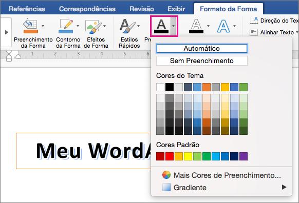 Guia Formato de Forma com a opção Preenchimento de Texto realçada.