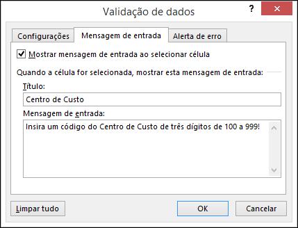 Configurações da mensagem de entrada na caixa de diálogo da validação de dados