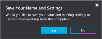 Clique em Sim para salvar seu nome e as configurações