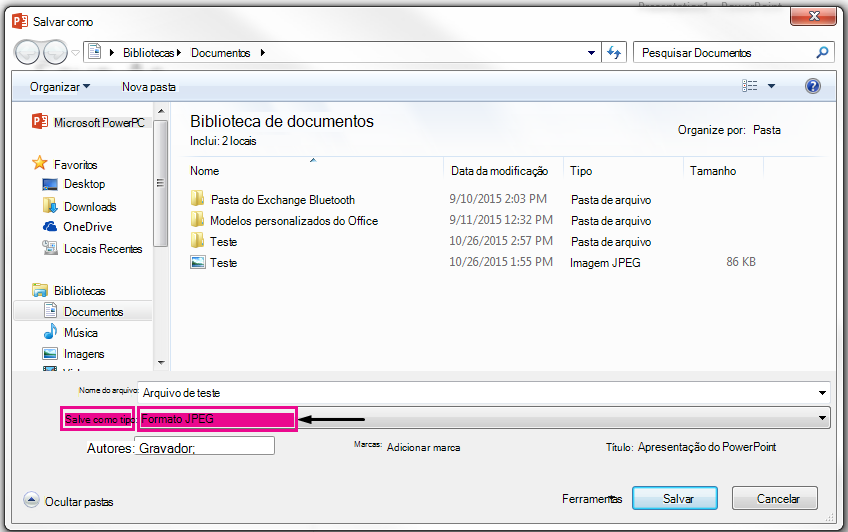 Na caixa de diálogo Salvar como, identifique o tipo de arquivo que você deseja que seu slide salvo como.