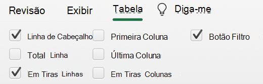 Linha de Cabeça de Tabela selecionada no Excel para Mac.