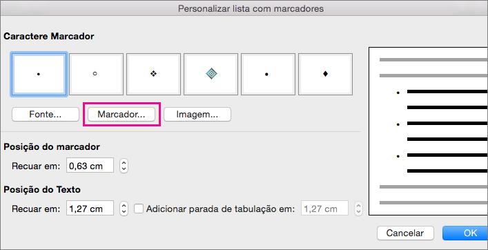Caixa de diálogo Personalizar Lista com Marcadores