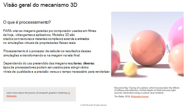 Captura de tela da seção visão geral do mecanismo 3D das diretrizes de conteúdo 3D