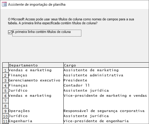 Importando dados do Excel