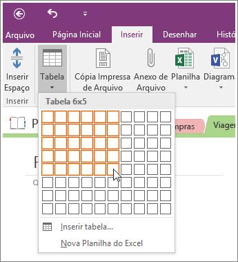 Captura de tela de como adicionar uma tabela no OneNote 2016.