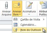 Comando Anexar Item do Outlook na faixa de opções