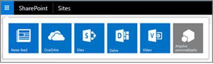 Inicializador de aplicativos híbrido em um site do SharePoint Server
