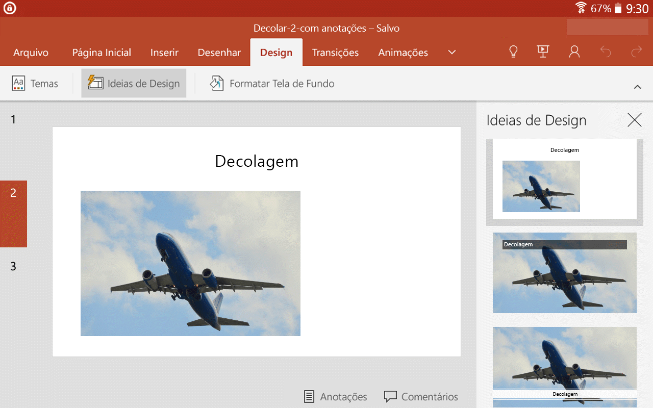 Quando você selecionar uma ideia de design, ela será exibida no tamanho original no slide