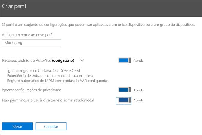 Insira o nome e ative as configurações no painel de perfil Criar.