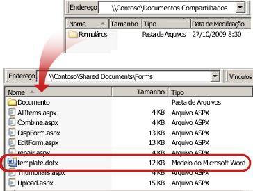 O conteúdo da pasta Formulários em uma biblioteca de documentos