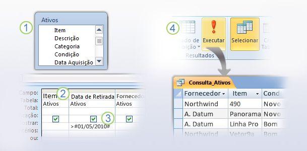 O processo básico para a criação de uma tabela