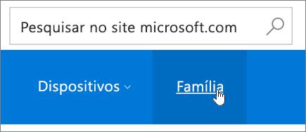 Uma captura de tela da guia Família na página Conta da Microsoft.