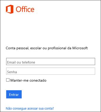 Captura de tela da página de entrada para instalar o Office