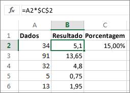 Vários números de uma porcentagem