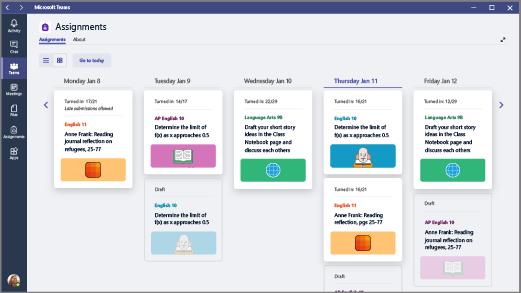 Visualize as tarefas que você criou em todas as classes em uma exibição semanal, de segunda a sexta-feria.