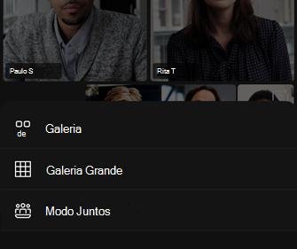 Opções do layout de vídeo