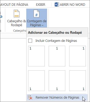 Imagem de Remover Números de Página selecionada na galeria de Números de Página