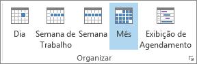 Organizar grupo na guia Página inicial: dia, semana, semana de trabalho, mês e cronograma
