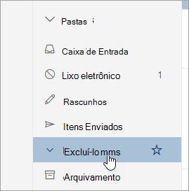Uma captura de tela da pasta Itens excluídos