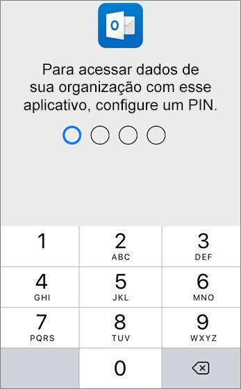 Defina um PIN para acessar os dados de sua organização