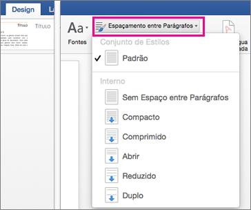 Alterar o espaçamento entre linhas no Word para Mac - Word
