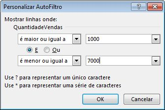 Caixa de diálogo Personalizar AutoFiltro