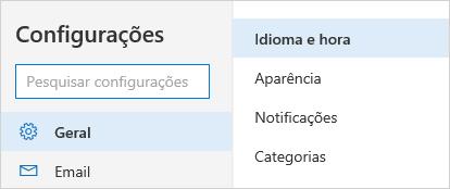 Uma captura de tela do menu de configurações de hora e idioma