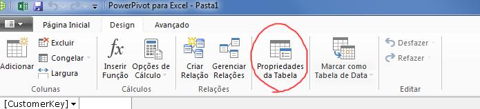 Faixa de opções na janela do PowerPivot mostrando o comando Propriedades da tabela