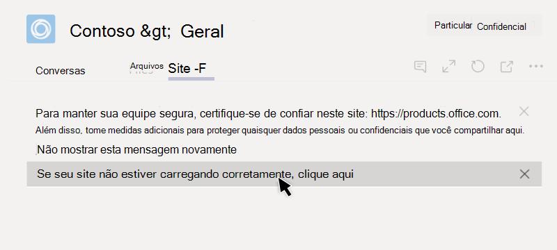 O site falhou ao carregar em uma guia
