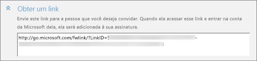 Captura de tela da seção Obter um link da caixa de diálogo Adicionar alguém.