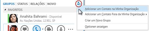 Na janela principal do Lync, clique no botão Adicionar um contato