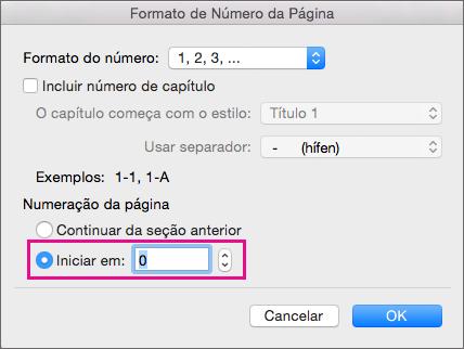 Para definir o número da página inicial, escolha Iniciar em e insira um número.