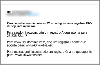No Wix.com, use estas configurações de registro DNS