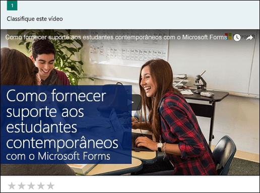 Inserir caixa de vídeo do YouTube para Microsoft Forms