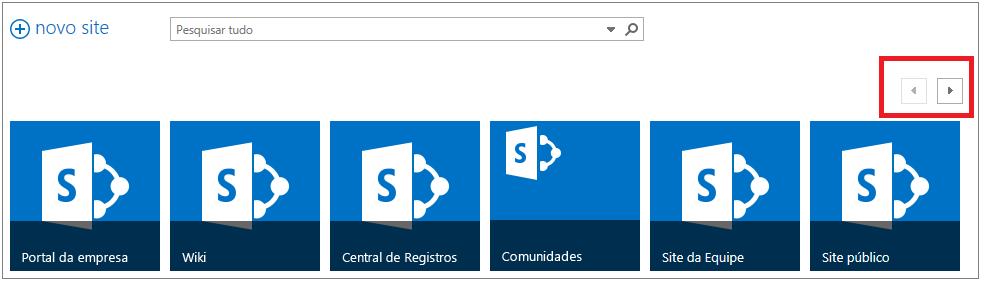 Exemplo da Página de Sites com seis locais promovidos e uma barra de rolagem