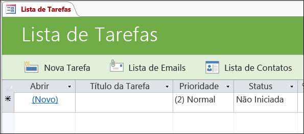 Formulário de lista de tarefas no modelo de banco de dados Tarefas do Access