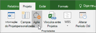 Captura de tela do botão ágil na faixa de opções do Project, guia projeto, seção Propriedades