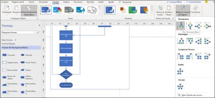 Fluxograma com uma variedade de opções de design e layout