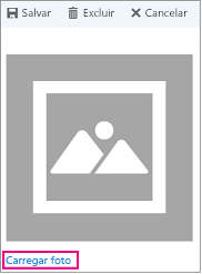"Caixa de diálogo Carregar foto com ""carregar foto"" realçado"