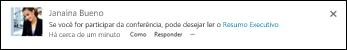 Uma postagem de news feed com um link para um documento do SharePoint