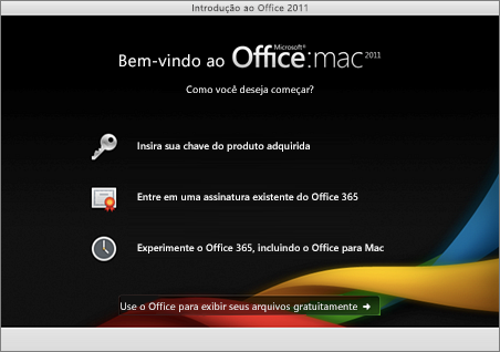 Captura de tela da página de boas vindas do Office for Mac 2011
