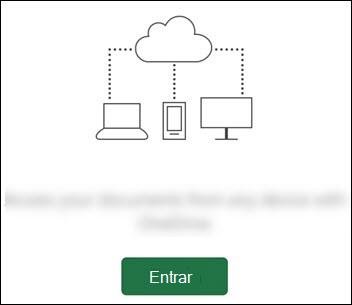 Dispositivos diferentes conectados a uma nuvem. Um botão entrar na parte inferior.