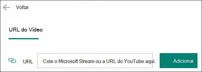 Adicionar vídeo a uma pergunta de formulários por URL